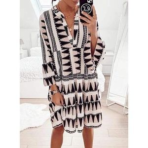 V-Neck Long Sleeve Tunic Ruffle Hem Dress